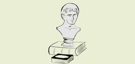 Bust on a thick book